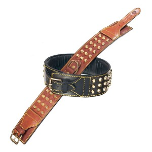 Studded Padded Leather Dog Collar for Big Dogs- Black, Brown