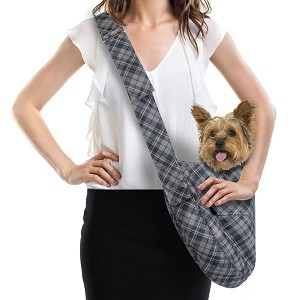 Cuddle Dog Carrier by Susan Lanci - Charcoal Scotty Plaid