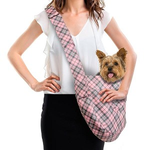 Cuddle Dog Carrier by Susan Lanci - Pink Scotty Plaid