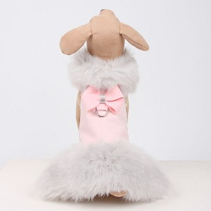 Nouveau Bow Dog Coat with Silver Fox Fur- Puppy Pink