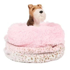 Cuddle Cup Dog Bed - Pink Lynx Shag
