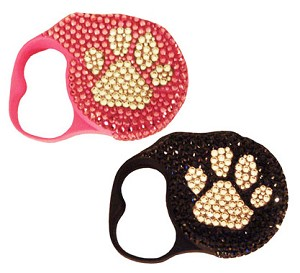 Paws Swarovski Crystal Retractable Dog Leash - Pink, Caviar