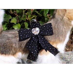 Tail Bow Heart Swarovski Crystal Dog Harness- Stardust Black
