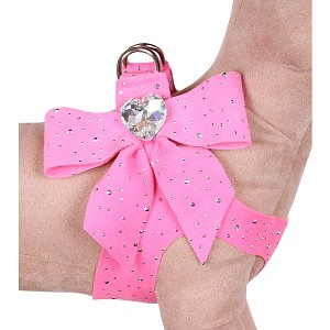 Tail Bow Heart Swarovski Crystal Dog Harness- Stardust Perfect Pink