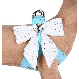 Tail Bow Heart Swarovski Crystal Dog Harness- Stardust White & Tiffy Blue