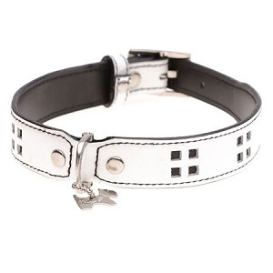 Tommy White Leather Dog Collar by Hamish McBeth