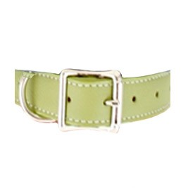 Tuscany Italian Leather Dog Collar - Spring Green