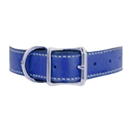 Tuscany Italian Leather Dog Collar - Ultramarine Blue