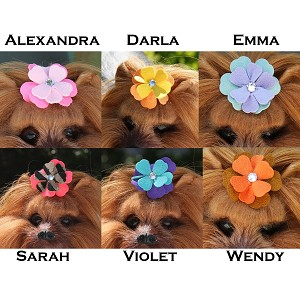 Two-Tone Tinkies Garden Hair Bows- 6 Colors