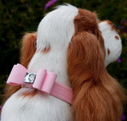 Jumbo Big Bow Swarovski Crystal Ultrasuede Dog Collar - 7 Colors