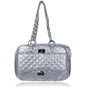 Vanderpump Quilted Classic Luxury Pet Carrier- Silver