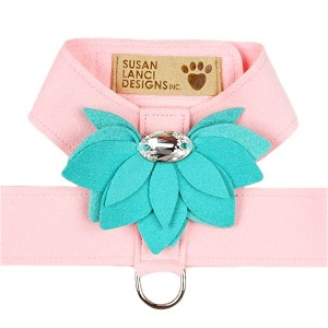 Water Lily Two-Tone Dog Harness by Susan Lanci- Puppy Pink and Bimini Blue