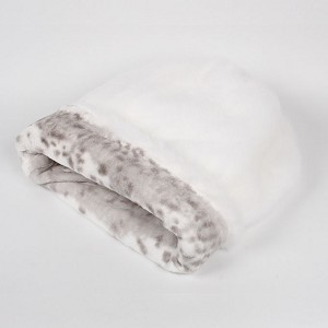 Cuddle Cup Dog Bed -White with Platinum Snow Leopard